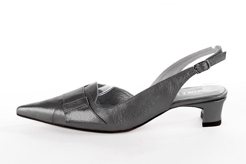 f899f8e15bc4 Escarpins personnalisables haut de gamme Florence KOOIJMAN - Escarpin Gris  Acier, pointu, en cuir