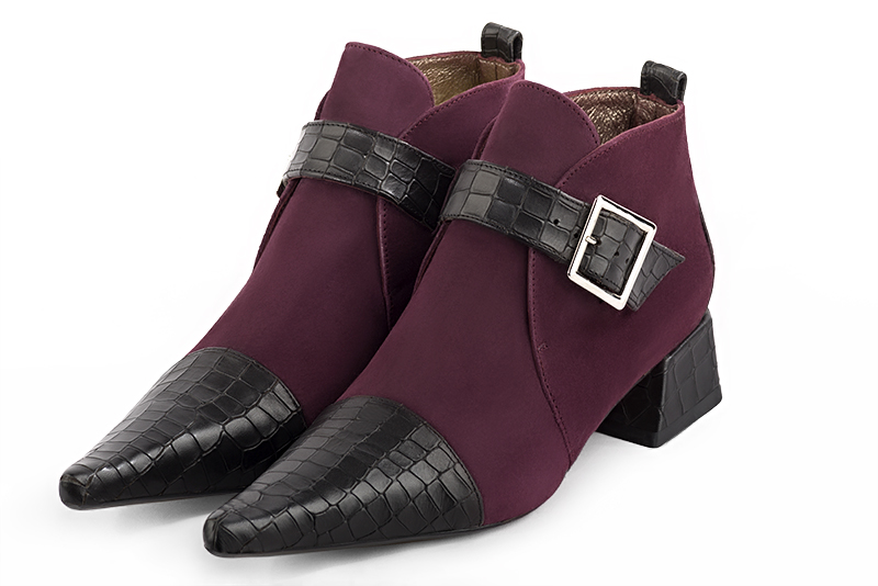 Boots tendance Florence KOOIJMAN - Bottine Femme, fashion, pointu, bordeaux et noir, sur talon original, du 35 au 43.