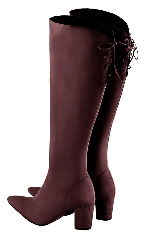 Personnalisation chaussures et maroquinerie Florence KOOIJMAN - Bottes Femme,  en cuir lisse Bordeaux, du a2e9c840ae1c