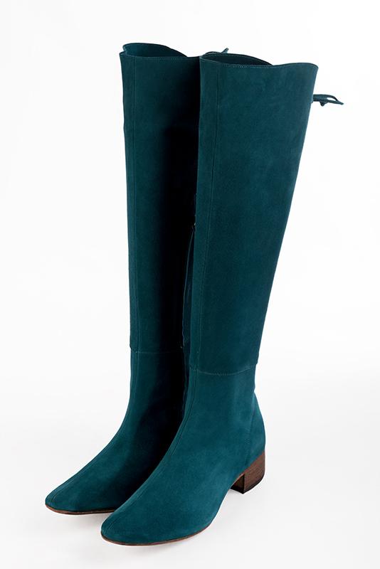 Personnalisation chaussures et maroquinerie Florence KOOIJMAN - Botte Femme  Marine Haute sur un talon large bottier 29d4a77b029c