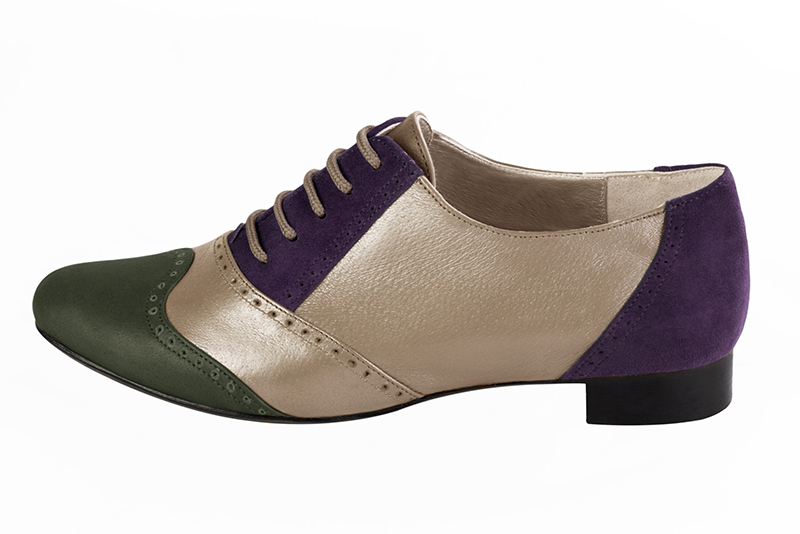 Escarpins personnalisables haut de gamme Florence KOOIJMAN - purple and green derbys, for the woman.