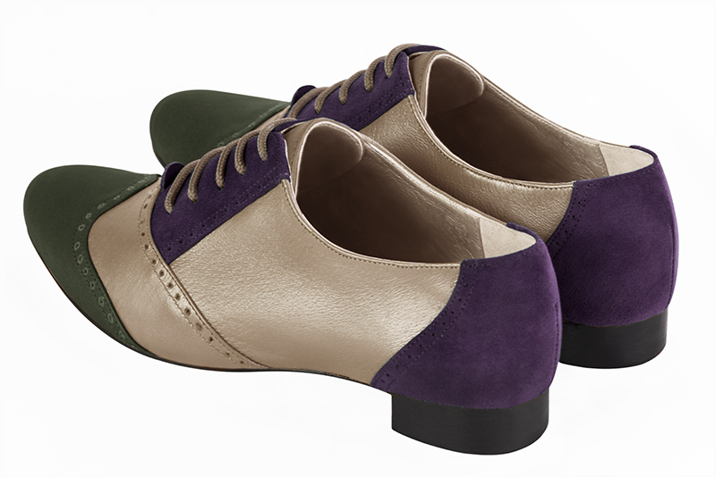 Escarpins grande taille Florence KOOIJMAN - purple and green derbys, for the woman.