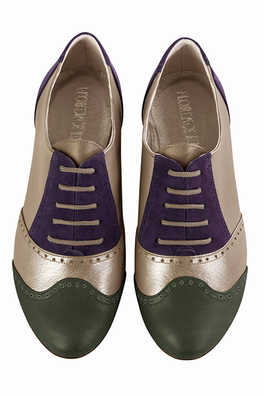 Escarpins personnalisable haut de gamme Florence KOOIJMAN - purple and green derbys, for the woman.