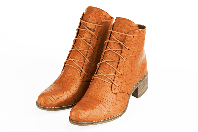 Boots personnalisable Florence KOOIJMAN - Bottine Orange Originale Femme du 35 au 43