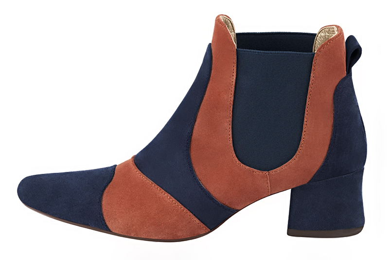 Boots haut de gamme Florence KOOIJMAN - Bottine Femme, marine et orange, fashion, du 35 au 43.